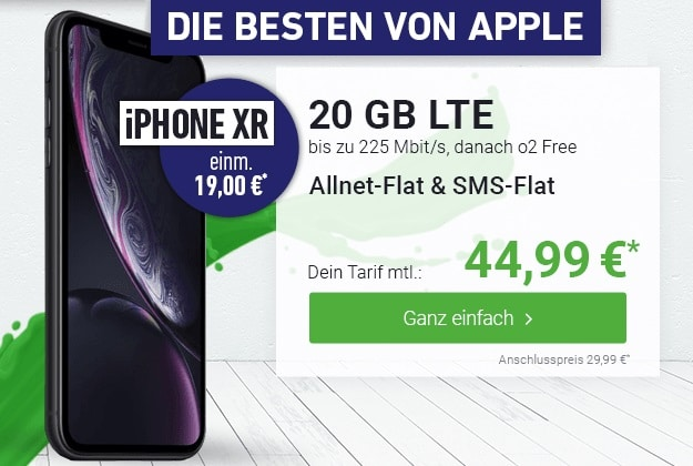 Apple iPhone Xr 64GB + o2 Free M Boost bei DeinHandy