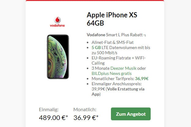 iPhone Xs 64GB + Vodafone Smart L Plus