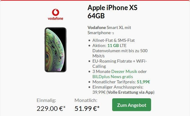 Apple iPhone Xs 64GB + Vodafone Smart XL bei Preisboerse24