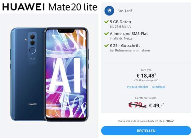 Huawei Mate 20 lite + otelo Fan-Tarif