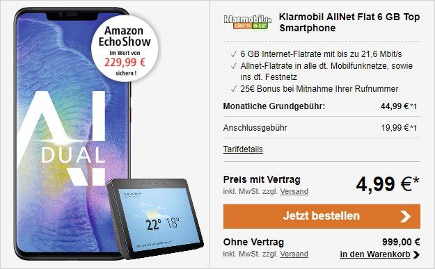 Huawei Mate 20 Pro + Amazon Echo Show (2. Gen.) + klarmobil Allnet-Flat 6000 bei LogiTel
