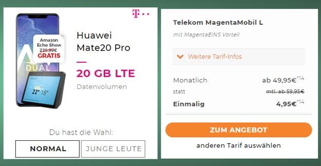 Huawei Mate 20 Pro + Telekom Magenta Mobil L ab eff. 0,82 € pro Monat (Allnet- & SMS-Flat, bis 24 GB LTE) - gratis Echo Show!