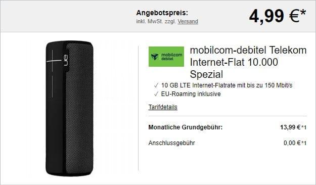 mobilcom-debitel Internet-Flat 10.000 (Telekom-Netz) + Ultimate Ears Boom 2 Phantom bei LogiTel