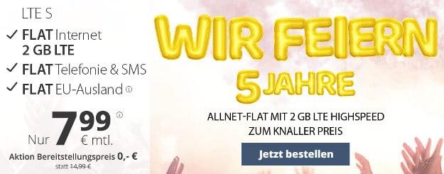 Wahnsinn! PremiumSIM LTE Tarife ab 7,99 € mtl. (Allnet-Flat, SMS-Flat, bis 8 GB LTE, o2) - auch mtl. kündbar - 10 € Wechsel-Bonus!