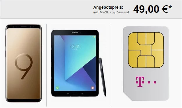 Samsung Galaxy S9 + Telekom Magenta Mobil M und M Young + Tab S3 LTE