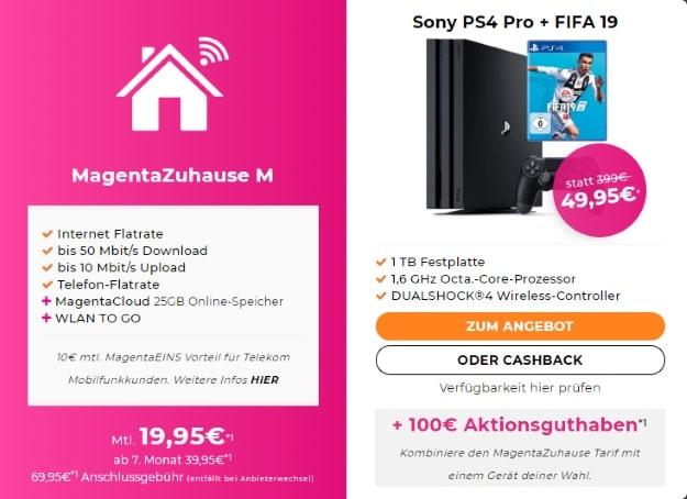 Telekom Magenta Zuhause M + PS4 Pro (1TB) FIFA 19 Bundle bei Handyflash