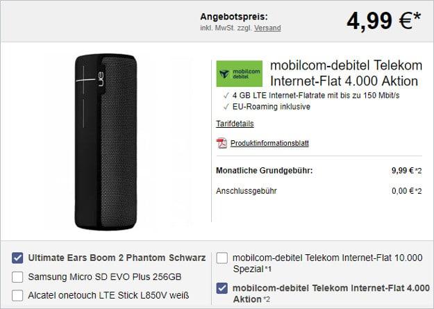 UE Boom 2 + 4 GB LTE Datenflat