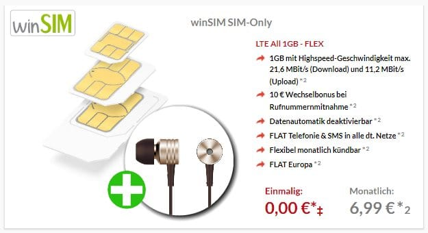 winSIM LTE All 3 GB + 1More Piston Kopfhörer bei Preisboerse24