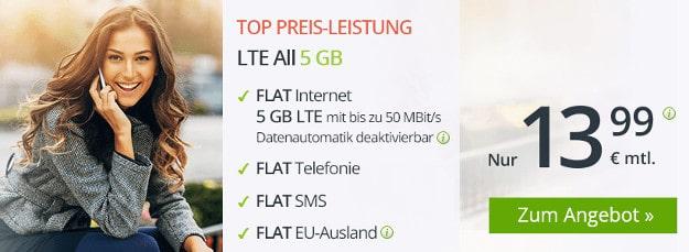 Top! winSIM LTE All ab 6,99 € mtl. (Allnet- & SMS-Flat, bis 10 GB LTE, o2) - 3 GB LTE für 8,99 € mtl - auch mtl. kündbar