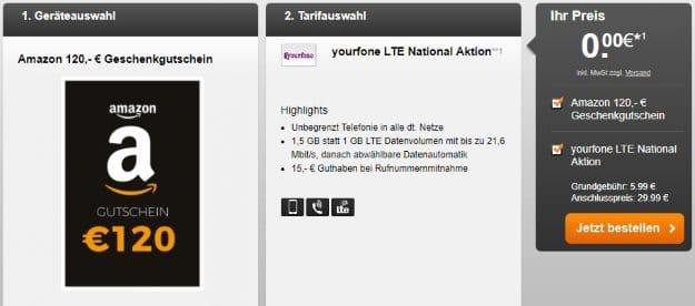 yourfone LTE National 1,5 GB + 120 € Amazon-Gutschein bei Handyflash
