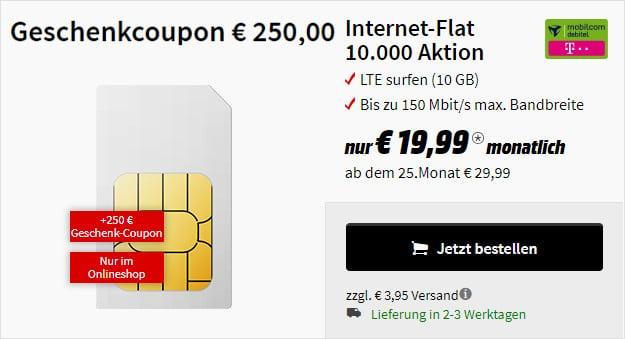 10 GB LTE Telekom-Netz Datentarif + MediaMarkt Gutschein