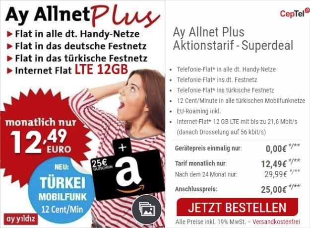 Ay Yildiz Ay Allnet Plus (SIM-only) bei CepNet