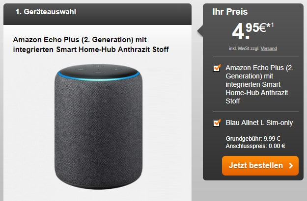 Blau Allnet L + Amazon Echo Plus (2. Gen.) bei Handyflash