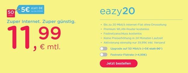 eazy20 eazy50 Kabel-Internet-Flatrate günstig