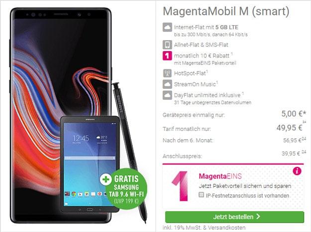 Samsung Galaxy Note 9 + Samsung Galaxy Tab E 9.6 WiFi + Telekom Magenta Mobil M bei DeinHandy