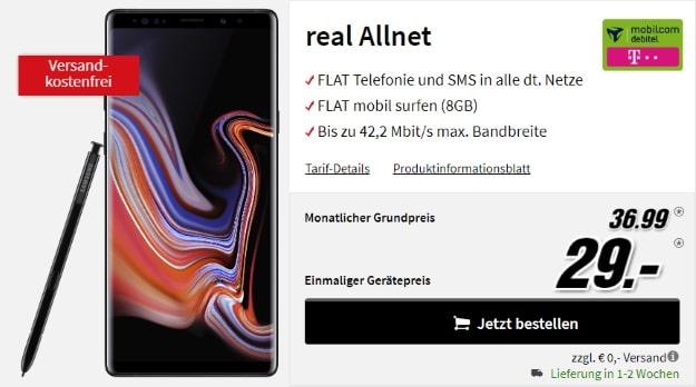 Samsung Galaxy Note 9 + mobilcom-debitel real Allnet (Telekom-Netz) bei MediaMarkt