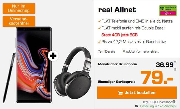 Samsung Galaxy Note 9 + Sennheiser HD 4.50 BTNC + mobilcom-debitel real Allnet (Telekom-Netz) bei Saturn