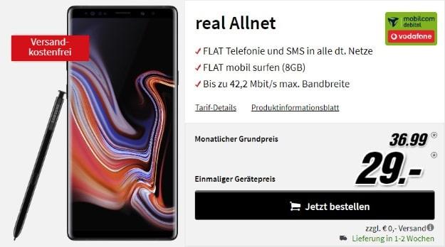 Samsung Galaxy Note 9 + mobilcom-debitel real Allnet (Vodafone-Netz) bei MediaMarkt