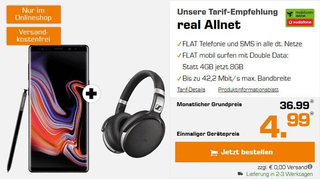 Samsung Galaxy Note 9 + Sennheiser HD 4.50 BTNC + Vodafone real Allnet (mobilcom-debitel) bei Saturn