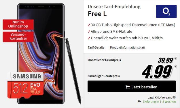 Samsung Galaxy Note 9 + Samsung EVO Plus 512GB microSD + o2 Free L bei MediaMarkt