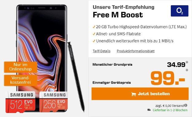 Samsung Galaxy Note 9 + Samsung EVO Plus microSD 256GB & 512GB + o2 Free M Boost bei Saturn