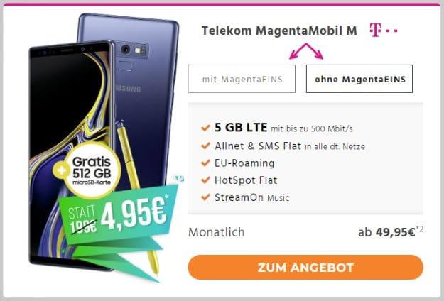 Samsung Galaxy Note 9 + Samsung EVO Plus 512GB microSD + Telekom Magenta Mobil M bei Handyflash