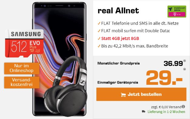 Samsung Galaxy Note 9 + Sennheiser HD 4.50 BTNC + Samsung EVO Plus 512GB microSD + mobilcom-debitel real Allnet (Telekom-Netz) bei Saturn