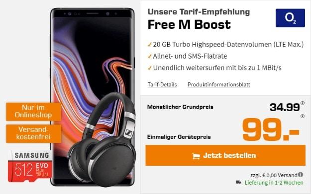 Samsung Galaxy Note 9 + Sennheiser HD 4.50 BTNC + Samsung EVO Plus 512GB microSD + o2 Free M Boost bei Saturn