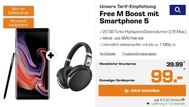 Samsung Galaxy Note 9 + Sennheiser HD 4.50 + o2 Free M Boost bei Saturn