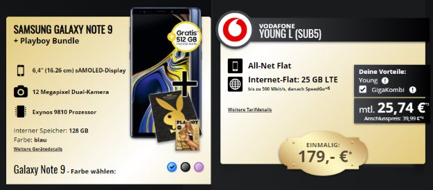 Samsung Galaxy Note 9 + Vodafone Young L GigaKombi bei Talkthisway