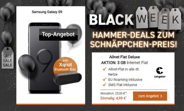 Samsung Galaxy S9 + Xqisit BT-Lautsprecher + congstar Allnet-Flat LTE bei LogiTel