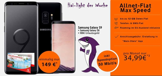 Samsung Galaxy S9 + Samsung Galaxy S8 + iotelo Allnet-Flat Max Speed bei talkthisway