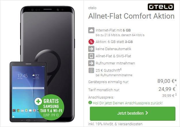 Samsung Galaxy S9 + Samsung Galaxy Tab E 9.6 WiFi + otelo Allnet-Flat Classic bei DeinHandy