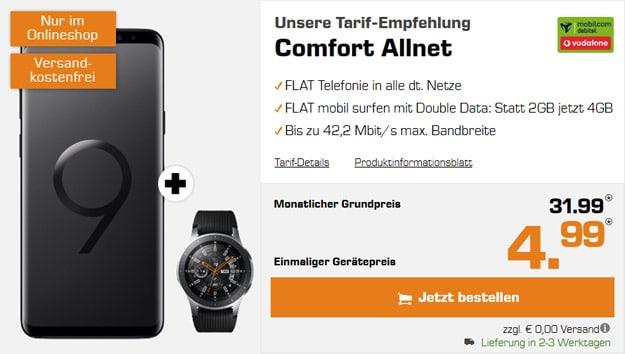 Samsung Galaxy S9 Plus + Samsung Galaxy Watch (46 mm) + Vodafone Comfort Allnet (mobilcom-debitel) bei MediaMarkt
