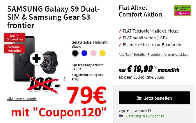 Samsung Galaxy S9 + Samsung Gear S3 Frontier + mobilcom-debitel Flat Allnet Comfort (Telekom-Netz) bei MediaMarkt