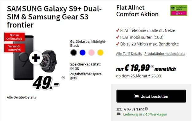 Samsung Galaxy S9 Plus + Samsung Gear S3 Frontier + mobilcom-debitel Flat Allnet Comfort (Telekom-Netz) bei MediaMarkt