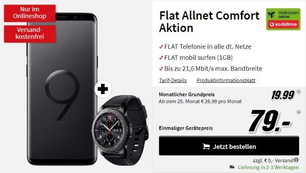 Samsung Galaxy S9 + Samsung Gear S3 Frontier + Vodafone Flat Allnet Comfort (mobilcom-debitel) bei MediaMarkt