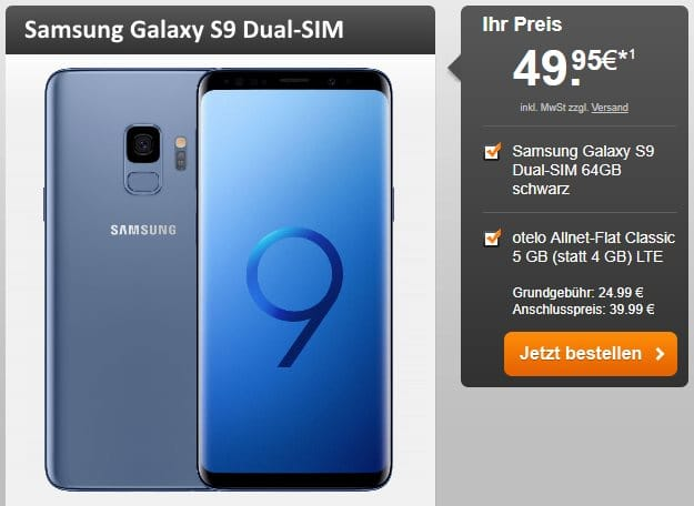 Samsung Galaxy S9 + otelo Allnet-Flat Classic LTE bei Handyflash