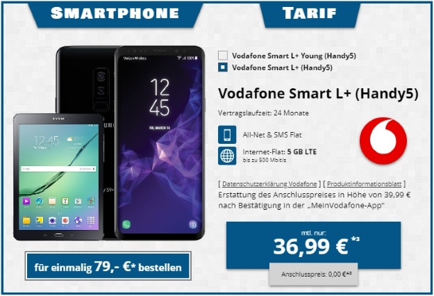 Samsung Galaxy S9 Plus + Samsung Galaxy Tab S2 9.7 WiFi + Vodafone Smart L Plus bei Tophandy