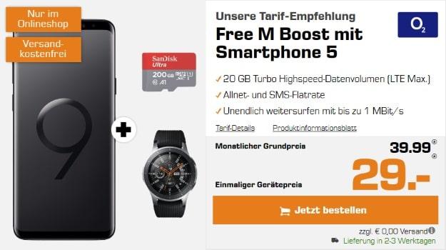 Samsung Galaxy S9 Plus + Samsung Galaxy Watch 46 mm + Sandisk 200GB microSD + o2 Free M Boost bei Saturn