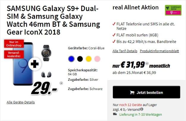 Samsung Galaxy S9 Plus + Samsung Galaxy Watch (46mm) + Samsung Gear IconX (2018) + mobilcom-debitel real Allnet (Telekom-Netz) bei MediaMarkt