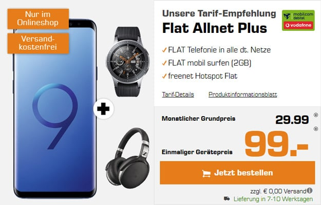 Samsung Galaxy S9 Plus + Samsung Galaxy Watch (46mm) + Sennheiser HD 4.50 BTNC + Vodafone Flat Allnet Comfort (mobilcom-debitel) bei Saturn