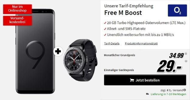 Samsung Galaxy S9 Plus + Samsung Gear S3 Frontier + o2 Free M Boost bei MediaMarkt