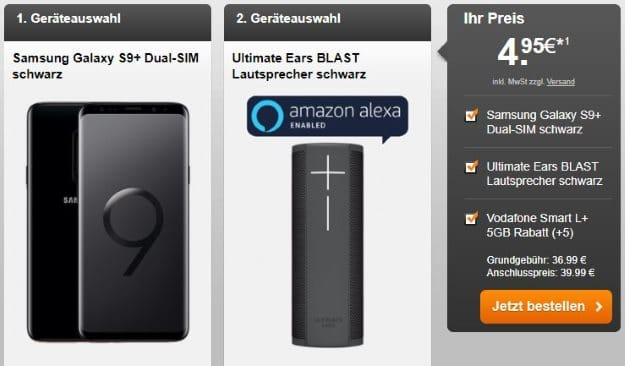 Samsung Galaxy S9 Plus + Ultimate Ears Blast + Vodafone Smart L Plus bei Handyflash