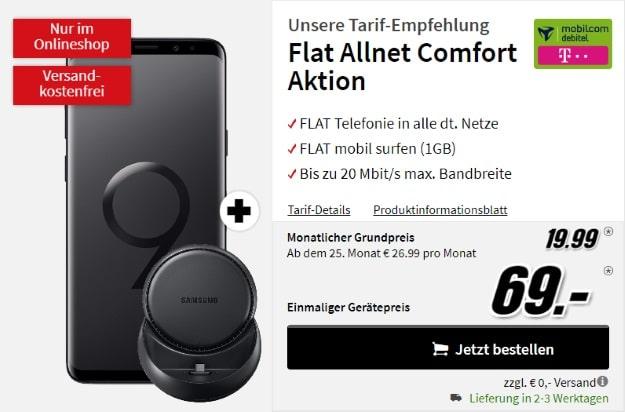 Samsung Galaxy S9 Plus + Samsung DeX Station + mobilcom-debitel Flat Allnet Comfort (Telekom-Netz) bei MediaMarkt