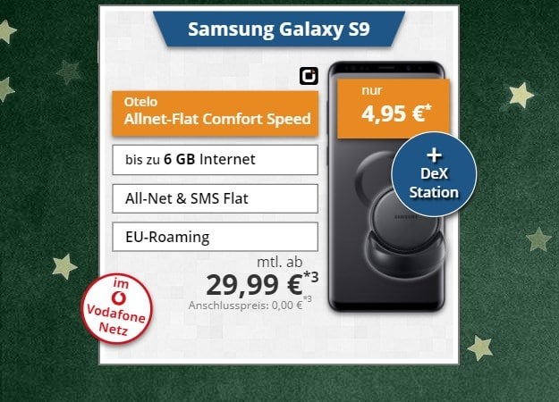 Samsung Galaxy S9 + Samsung DeX Station + otelo Allnet-Flat Comfort Speed bei Tophandy
