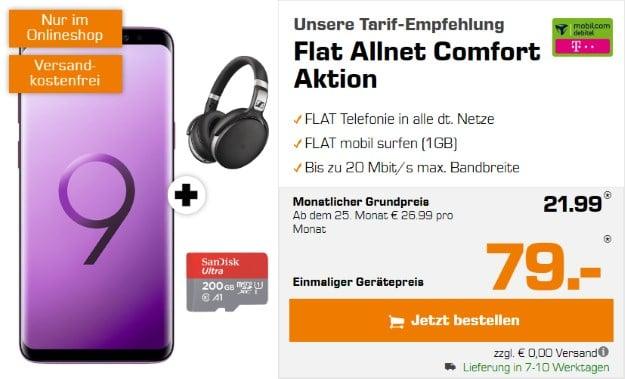 Samsung Galaxy S9 Plus + Sennheiser HD 4.50 + SanDisk 200GB microSD + mobilcom-debitel Flat Allnet Comfort (Telekom-Netz) bei Saturn