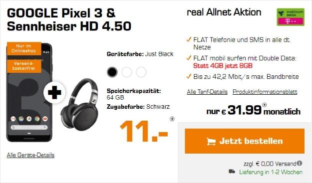 Google Pixel 3 + Sennheiser HD 4.50 BTNC + mobilcom-debitel real Allnet (Telekom-Netz) bei Saturn