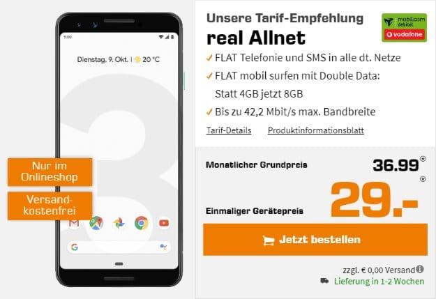 Google Pixel 3 64GB + Vodafone real Allnet (mobilcom-debitel) bei Saturn