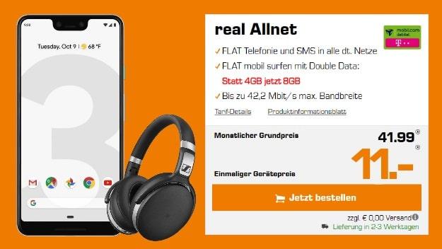 Google Pixel 3 XL + Sennheiser HD 4.50 BTNC + mobilcom-debitel real Allnet (Telekom-Netz) bei Saturn
